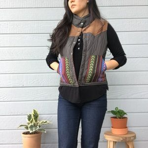 Corduroy, tribal, quilted vest